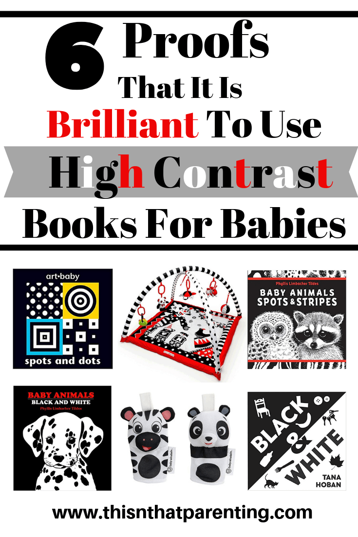 This post gives 6 benefits of using high contrasts books for babies and other black and white items, and I include all of our favorite high contrast items. The best thing you can do to visually stimulate your baby's vision and brain growth is to use black and white stripes or light and dark contrasting colors.  #besthighcontrastbooksforbabies #bestboardbooks #baby #parentingadvice #baby #childdevelopment #braindevelopment