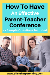 This article gives parents tips on what to do before, during, and after a parent-teacher conference and offers sample questions to ask about the student. #questionstoaskyourchildsteacher #parent-teacherconferenceideas
