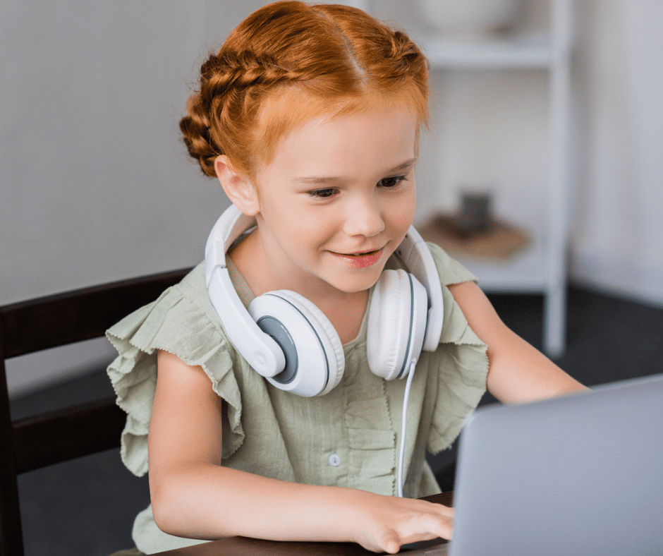 virtual learning child with headphones